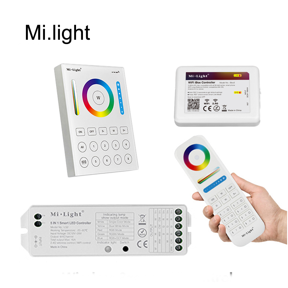 MiLight RGB CCT wifi 2.4G 8Zone RF dimmer FUT089 remote B8 Touch Panel Wall mounted rgbw LS2 5in1 controller for led strip bulb milight wireless ls2 5in1 smart led controller b8 wall mounted touch panel control rgb cct led strip 8 zone rf remote controller