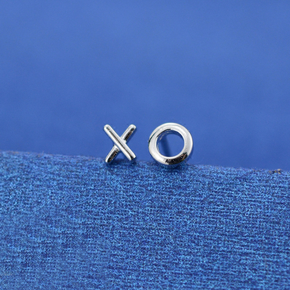 XIYANIKE 925 Sterling Silver Jewelry XO Stud Earrings For Women And Men 2017 Personality Simple Earrings Fashion Jewelry VES6652
