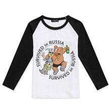 цена на Kids Shirts Baby Raglan Long Sleeve Tshirt Cartoon Tops Russian Bear Printed Boys T-Shirts Girl T Shirt Children Clothing Cotton