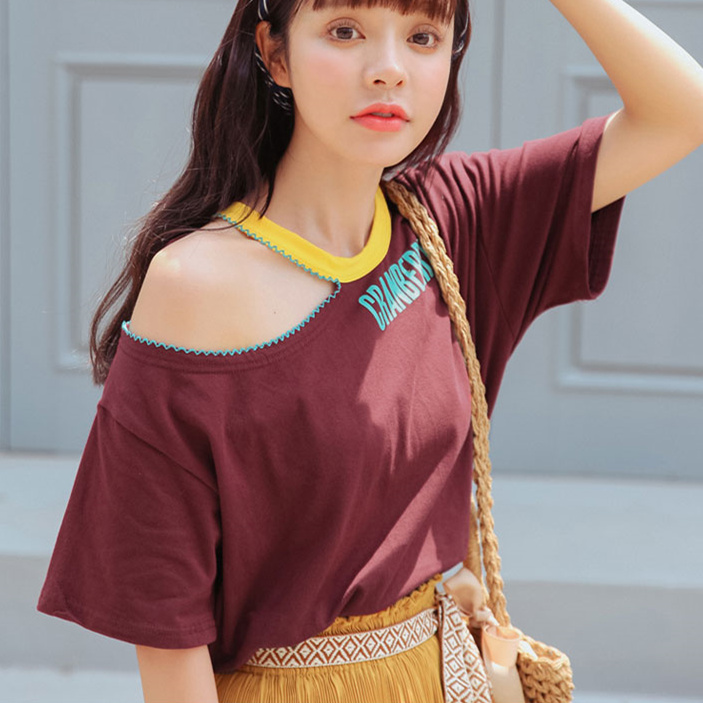 Off Shoulder Tshirts Women Summer 2018 Korean Casual Hollow Out Halter Collar Letters Print Short Sleeved Funny T Shirts T274