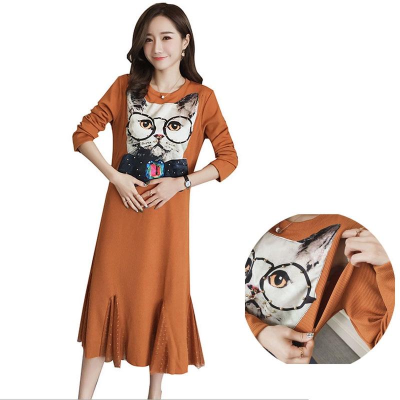 New 2017 Autumn Winter High Quality Long Maternity Dress Nursing Dress for Pregnancy Woman Clothes Cartoon Cat Printing Dress