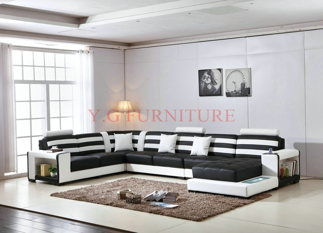 2018 Real Special Offer Genuine Leather Modern Bean Bag Chair Beanbag  Sectional Sofa Xl U Shaped