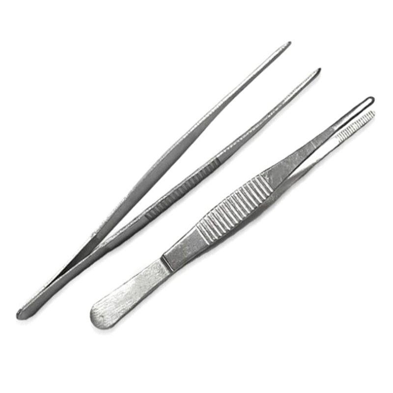 Medical Stainless Steel Dressing Tweezers Medical Straight/Elbow Tweezers First Aid Kit Accessories Surgery Tweezers Outdoor