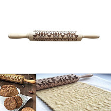 Practical deer wood rolling pin embossed baked biscuit cake