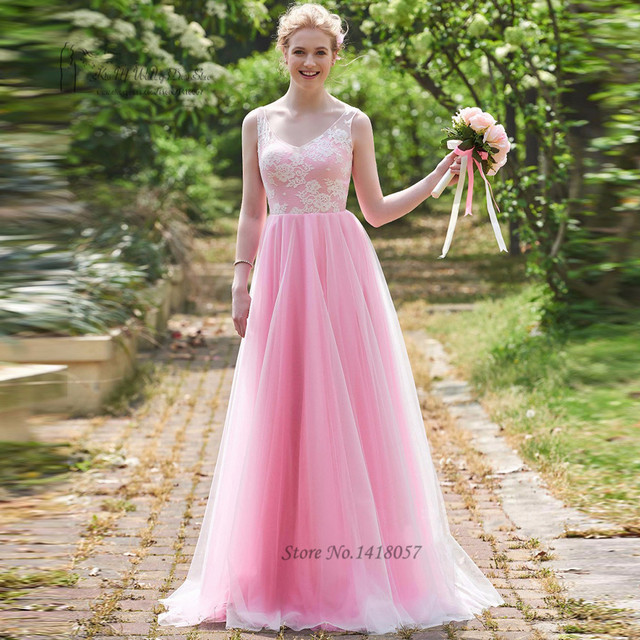 Us 980 Vestido Madrinha Longo Vintage Pink Bridesmaid Dresses Long Lace Wedding Party Gowns V Neck Back Sleeveless Prom Dress 2017 In Bridesmaid