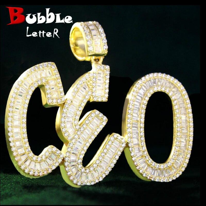 Colgante de nombre personalizado con letras Baguette, colgante de Color dorado, circonita AAAA, collar de Hip Hop para hombres, cadena de joyería de roca