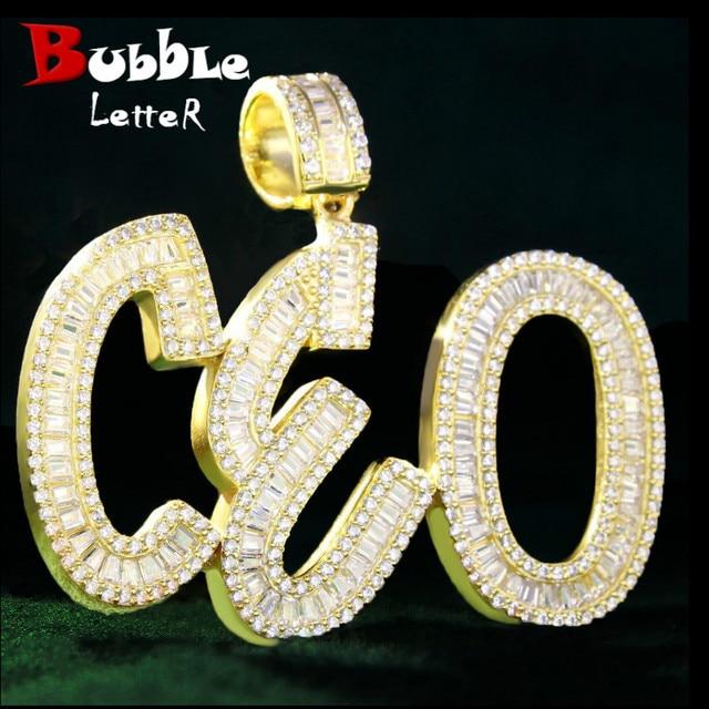 Nazwa własna liczba bagietka litery wisiorek charms w kolorze złota AAAA cyrkonia męski Hip Hop naszyjnik łańcuch Rock biżuteria