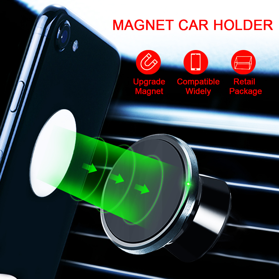 Metrans Magnetic Car Phone Holder For iPhone 360 Degree Air Vent Outlet Mount Stand Holder For Your Mobile Phone telefon tutucu-in Phone Holders & Stands from Cellphones & Telecommunications