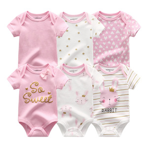 Image 3 - 6Pcs/sets Newborn Baby Boy Clothes Toddler Girls Rompers Summer Short Sleeve Baby Onesie tiny Cotton Baby Clothing roupa de bebe