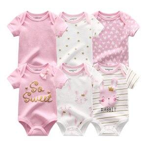 Image 3 - Vêtements pour nouveau né garçon, 6 pièces/ensembles, à manches courtes, vêtements dété pour bébés, tout petit coton, barboteuse filles