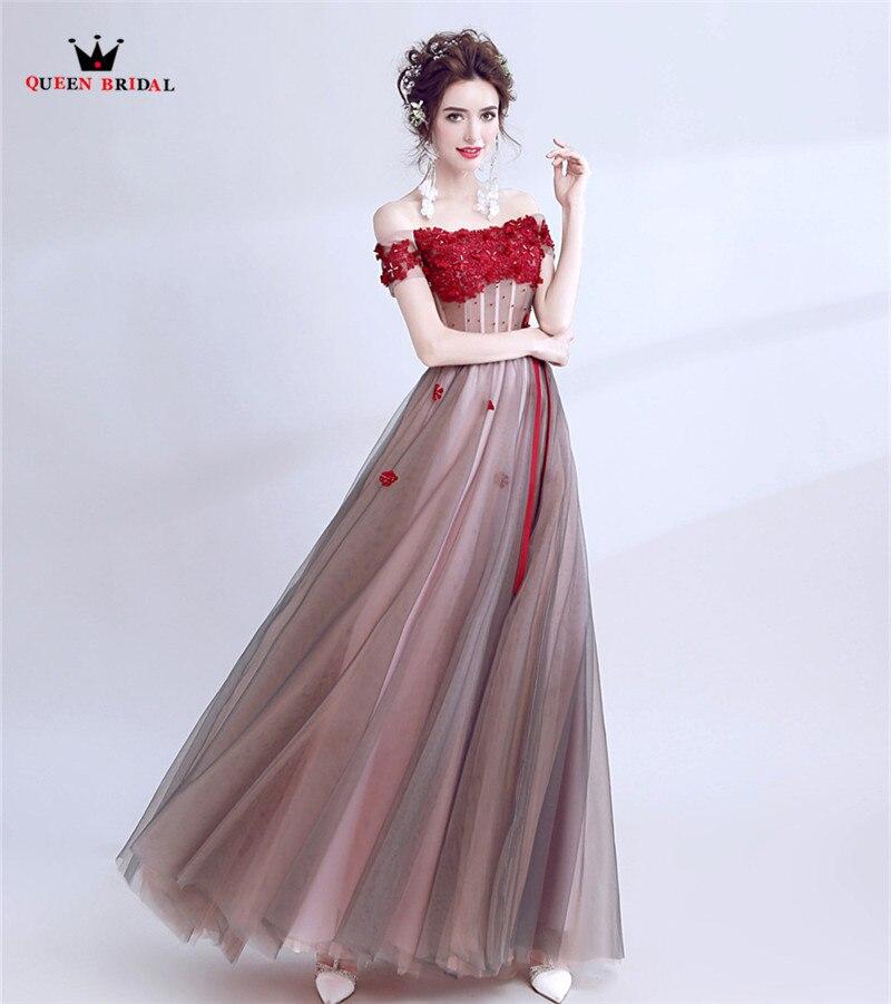 QUEEN BRIDAL Long Evening Dresses A-line Short Sleeve Beading Lace Tulle Prom Party Dresses Evening Gowns Vestido De Festa LS54