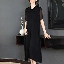 #0213 Woman Summer Black Retro Mid-calf Length Dress Elegant Women Plus Size Fashion Dresses Party Short Sleeve Runway Vestidos
