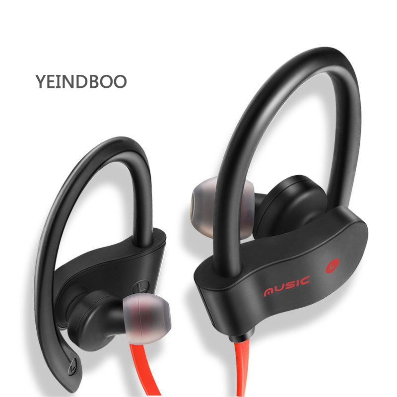 YEINDBOO Wireless Bluetooth Earphone Sports Sweat proof Stereo Earbuds Headset In-Ear Earphones with Mic for iPhone & Smartphone ttlife high quality stereo earphone wireless bluetooth 4 1 sports earphones ear hook earbuds with mic for iphone xiamo phones