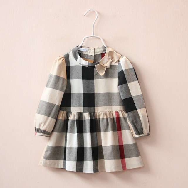 YB1582034 Retail 2016 New Spring Baby Girls Dresses Plaid Full Sleeve Appliques Bow Baby Girl Dress Princess Girl Clothes Lolita