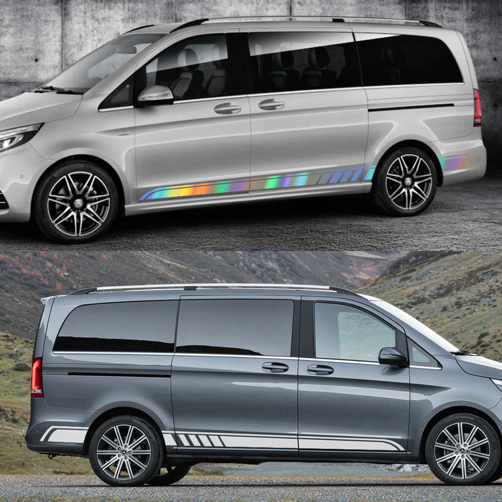 Image 4 - 2PCS/Lot Car Door Side Skirt Stripe Stickers For Mercedes Benz Vito Viano Valente Metris V Class W447 W639 V260 Auto Accessories-in Car Stickers from Automobiles & Motorcycles