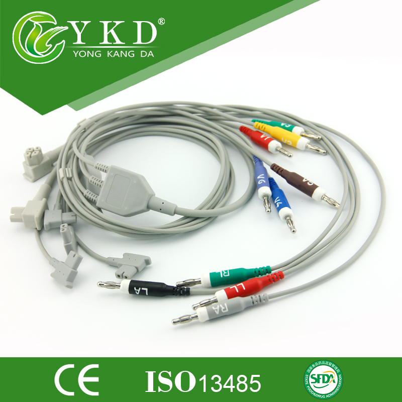 Free shipping 10 Lead one-piece series EKG cable with leads AHA banana 4.0 Free shipping 10 Lead one-piece series EKG cable with leads AHA banana 4.0
