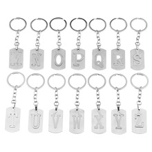 Stainless steel 26 English alphabet Keychain men jewelry personality hollow letter pendant cross chain friendship gifts