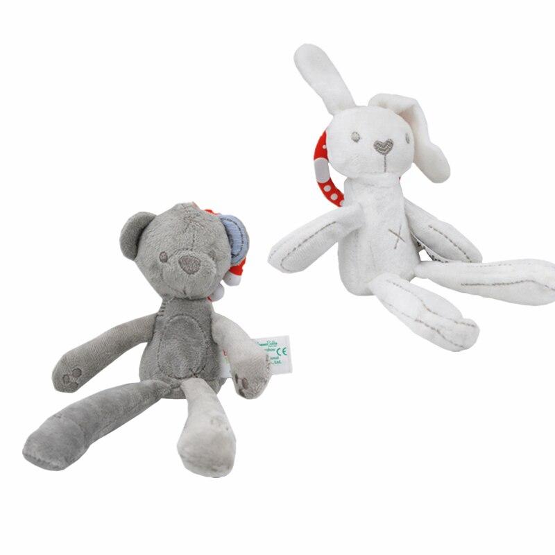 Babybedje Kinderwagen Speelgoed Konijn Bunny Beer Zacht Pluche Baby Pop Opknoping Ring Bell Wieg Kinderwagen Bed Sussen Speelgoed 24% Korting