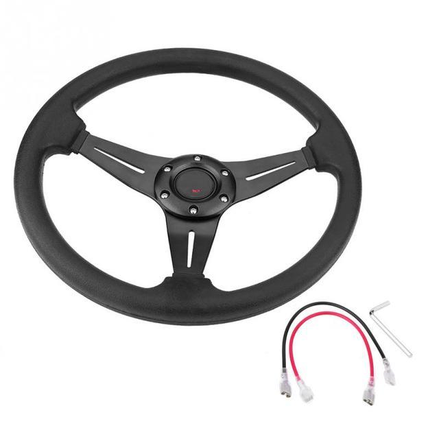 "Aluminum+PU Leather Car Racing Steering Wheel 14/""inch 350mm Universal USA Stock"