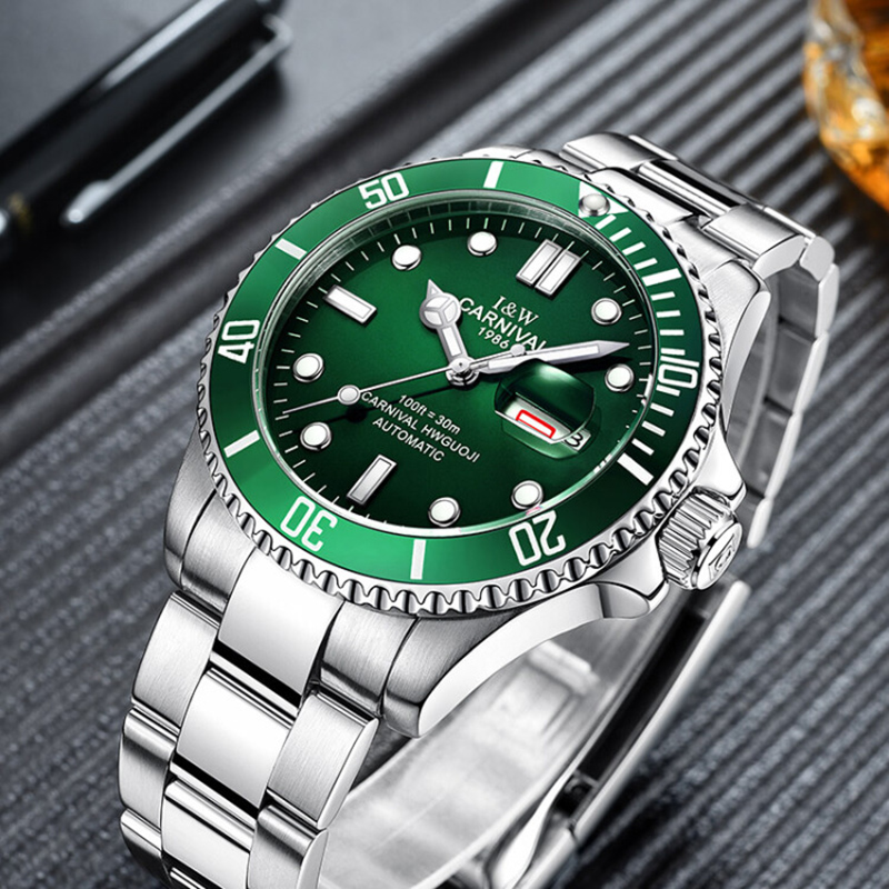 c27bf469644 Top Brand Luxury Carnival Watch Men GMT Automatic Mechanical Watches Green  Luminous Sapphire Glass Stainless Steel Diving Watch-in Mechanical Watches  from ...