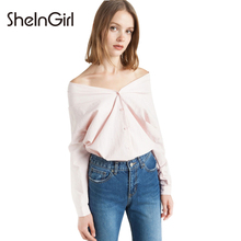SheInGirl 2017 Spring Sexy Blouse Shirt Women Casual Slim ladies office Blouse Female Chic Basic Off Shoulder Blouse