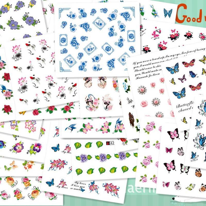 ELECOOL 50pcs/set nail stickers Mixed Flower Water Transfer Decals Art Tips Decoration stickers for nails artlalic 48 bottles nail art rhinestones beads sequins glitter tips decoration tool gel nail stickers mixed design case set