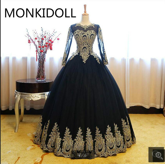 Vestido De Novia ball gown long sleeve prom dresses princess formal gold  lace appliques beaded corset prom dress real picture 5d80e6687bfd