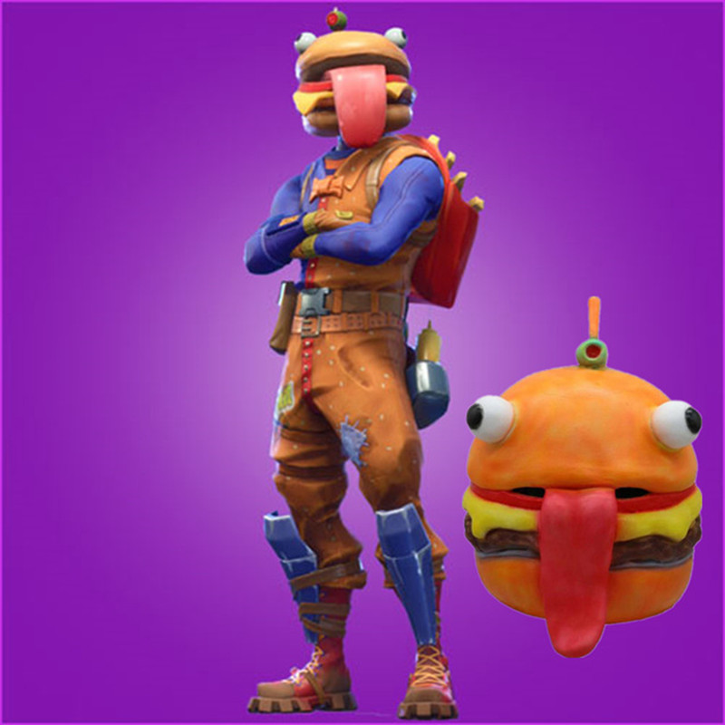 Fortress night game Battle Royale Beef Boss mask Cosplay Durr Burger Mask fortnight fortnited latex mask for adult