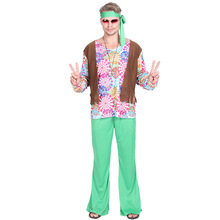 Men 70s Retro Hippie Peace And Love Cosplay Adult Halloween Costume For Carnival Party Family Group Fancy Suit