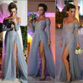 Fashion Evening Gown Vestidos Beading See Through Sexy Side Split V-neck Long Sleeves Prom Dress