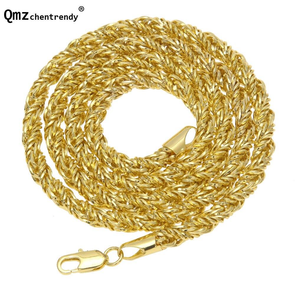 Hip Hop Bling de Los Hombres Espina Cuerda toque La Cadena Collar de Oro de 75 cm 6.5mm tamaño hiphop Cuerda Collar de Cobre Hipster Joyería