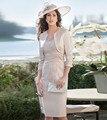 Vintage Gran Diseño Madre De la Novia con la Chaqueta Longitud de La Rodilla Vestido de Las Mujeres Venta Caliente Del Partido Vestido Formal