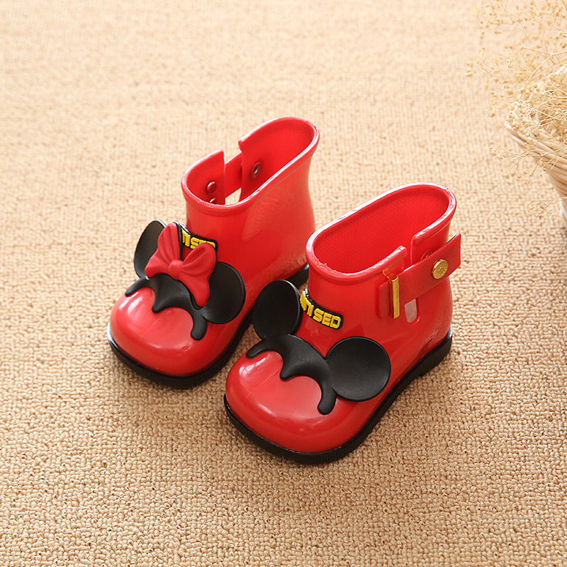 kids rainboots cartoon mouse duck cute baby jelly shoes for girl shoes children bow rain boot - Duck Rain Boots
