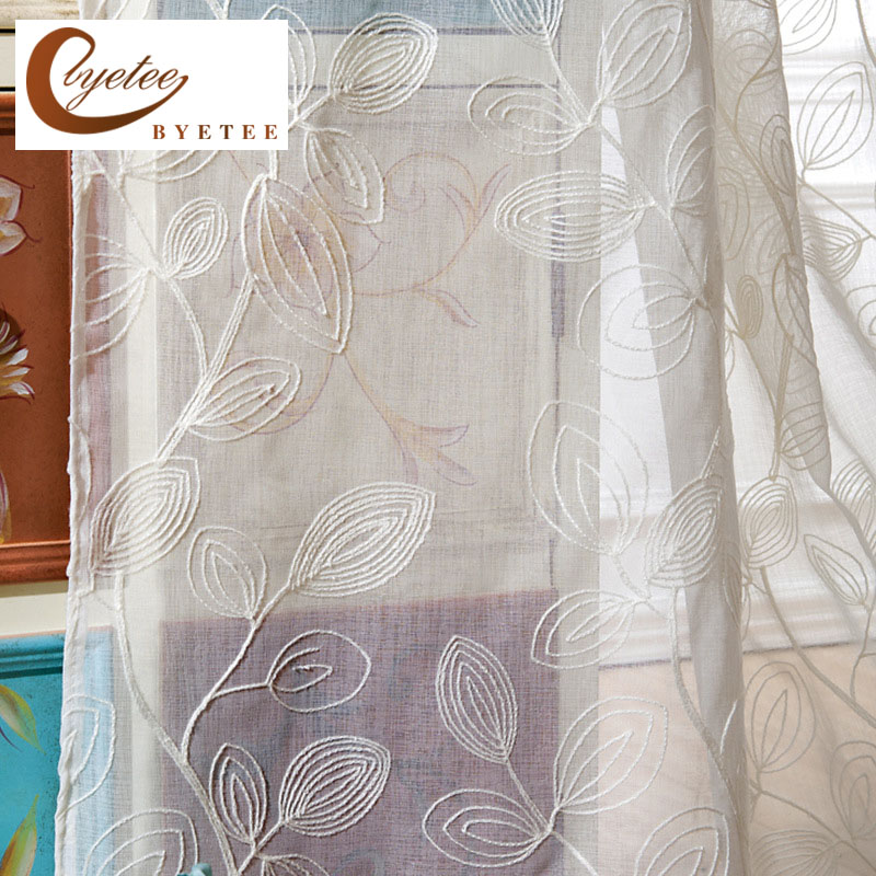 {Byetee} folhas brancas bordadas cortinas para sala de estar quarto cortina porta cortina para cozinha