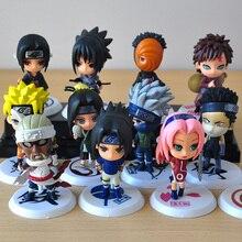 6 pçs/lote 7cm Salto do Japão Comics Naruto Obito Itachi Sasuke Gaara Kakashi Sakura PVC Brinquedos Figuras de Ação Modelo Estatueta