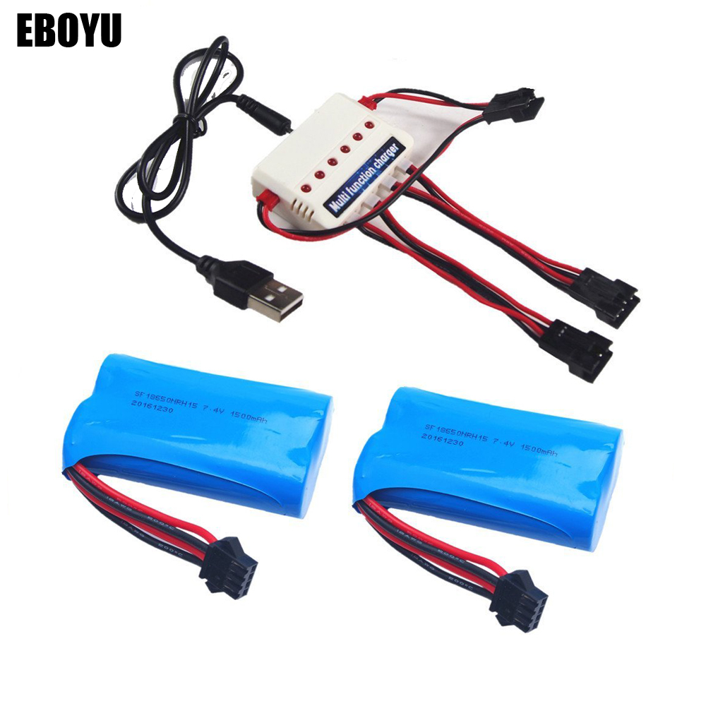 EBOYU 2pcs *<font><b>7.4v</b></font> <font><b>1500mah</b></font> Lipo <font><b>Battery</b></font> + 1 to 3 Balance <font><b>Charger</b></font> for Udi007 Udi002 HongXunJie HJ806 RC Boat Spare Parts image
