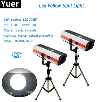 цена на 300w LED follow Spot Light super bright LED Follow Tracker Manual-Focus For Wedding Theater Performance party stage lighting