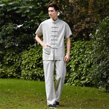 New Gray Chinese Men Tai Chi Uniform Traditional Linen Kung fu Suit Clothing Size M L