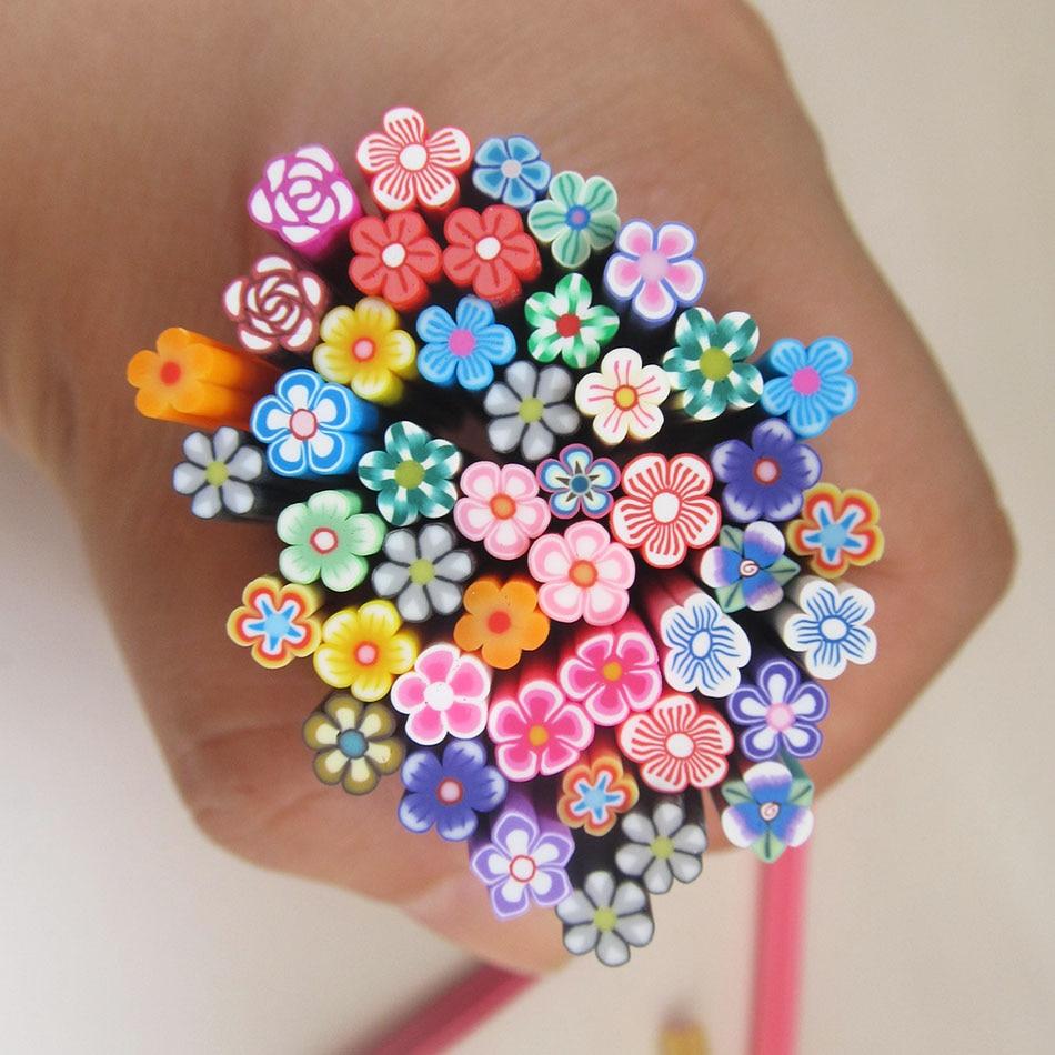 Online Shop Colorful 3d Nail Art 3d Flower Fimo Canes Rods Sticks