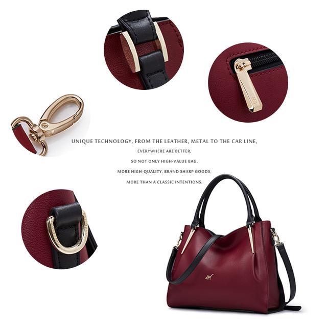 LAORENTOU Brand Soft Cowhide Leather Bags For Women Shoulder Bag Red Grey Cow Leather Women's Handbag Fashion Crossbody Bags N5