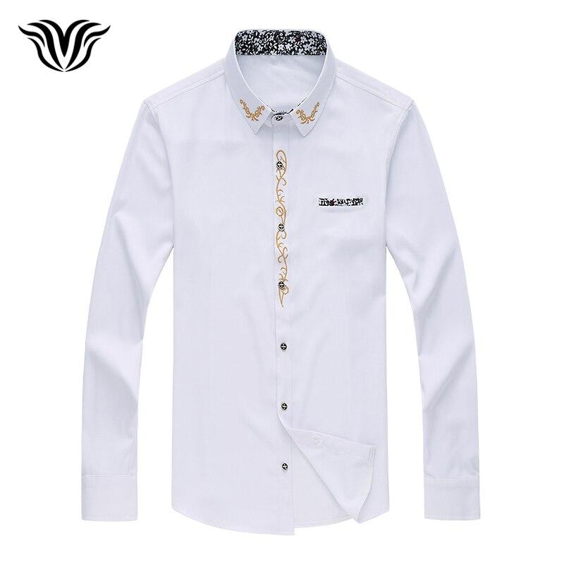 Super grande taille M à 7XL mode automne homme chemise à manches longues décolleté broderie chemise tendance blanc noir rouge marine