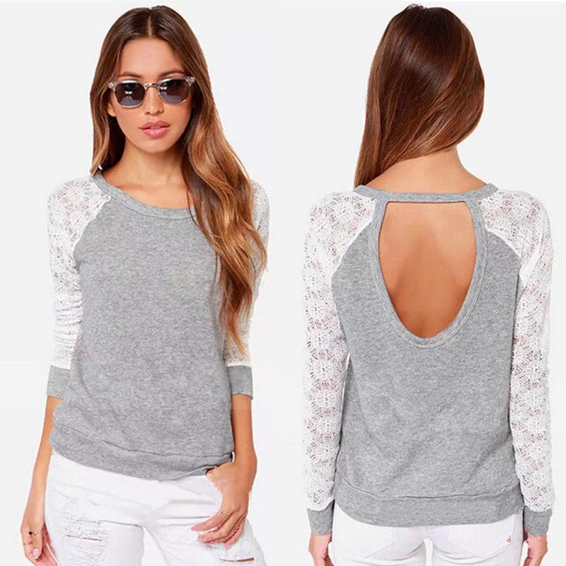 Plus Size Xxl 2018 New Fashion Spring Summer Women Backless Long Sleeve Embroidery Lace Crochet Shirt Top Blouse