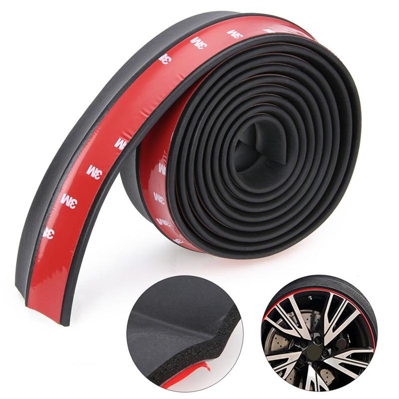 цена на Mayitr Durable 2.5M*6CM Universal Car Front Bumper Lip Splitter Sticker Auto Body Trim Spoiler Protector Black