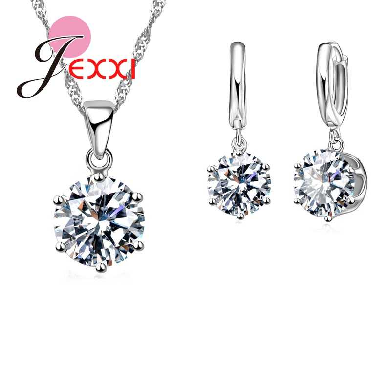 New Fashion Real 925 Sterling Silver Shiny CZ Crystals Cubic Zirconia Stones Woman Earring Necklace Jewelry Set 16 Colors