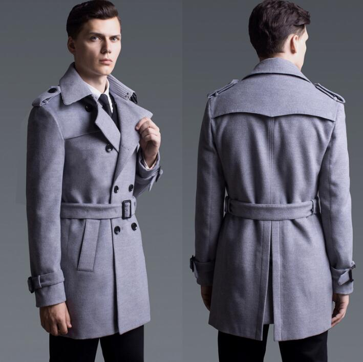 Grey casual woolen coat men trench coats long sleeves