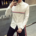 Otoño Nueva Mens Casual Camisas 2016 Moda de Manga Larga Marca rayas Masculinas Más El Tamaño Formal de Negocios Sólido de Los Hombres Camisa de Vestir 5XL-M