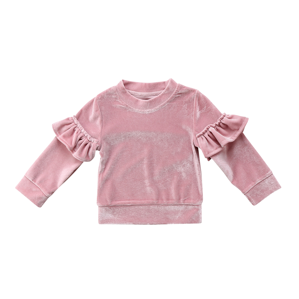 Kid Baby Girls Clothes Children Kids Velvet Ruffle Long Sleeves T-shirts For Gilrs Fleece Tops Jumper Fashion Girls clothing