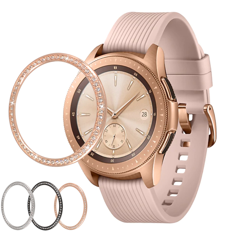 Smart Watch Cover For Samsung Galaxy Watch 46MM 42MM Bezel Ring Smart Watch Accessories Adhesive Cover Anti Scratch Metal