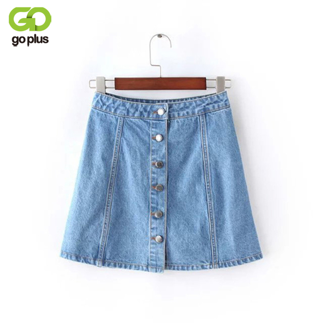 5dd3888a8fd94 GOPLUS Summer 2019 Women Jeans Denim Skirt Buttons Plus Size Vintage Blue  Mini Skirt Women s Female Fashion A-Line Skirts C3672