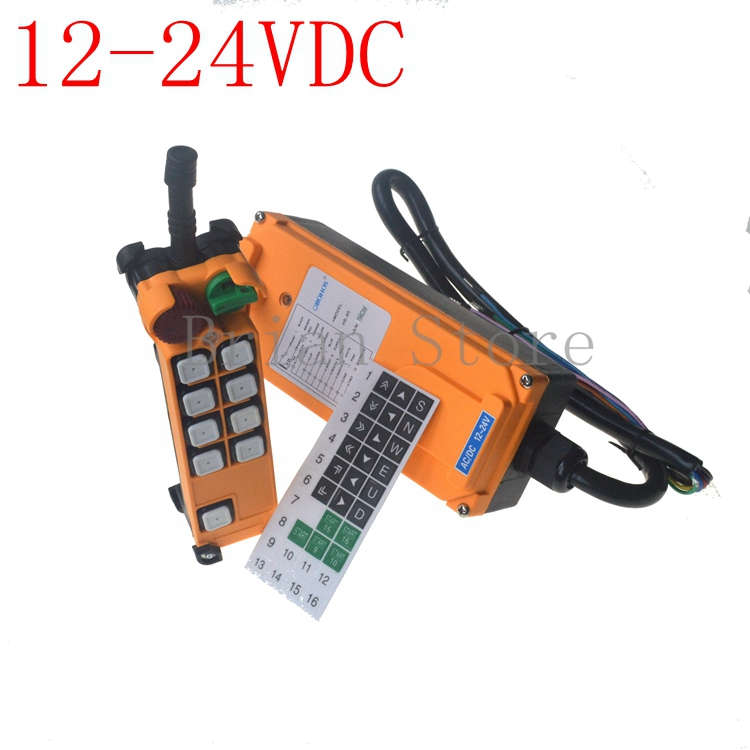 12 24VDC 8 channel 1 Speed Hoist Crane Truck Radio Remote Control System with E Stop